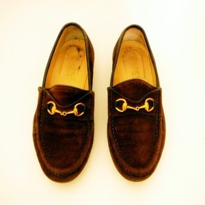 VTG Women's 7AA Gold Horsebit Loafers Brown Suede
